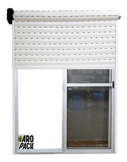 Puerta Ventana Balcón Aluminio Blanco 150x200 Con Persiana