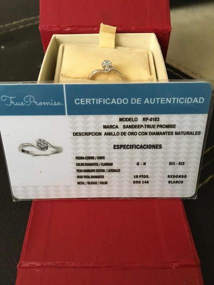 Anillo Compromiso 14k Oro Bco. 10 Ptos Diamantes Naturale