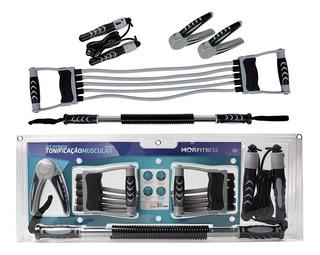 Kit Fitness Extensor Hand Grip Corda De Pular E Barra Mor