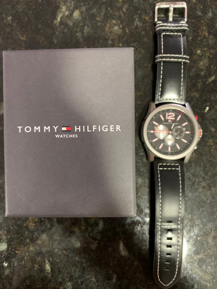 Relógio Tommy Hilfiger Masculino Couro Preto - Original
