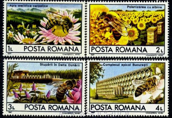 Posta Romana 1987 Abejas Flores Insectos Serie Completa Mint