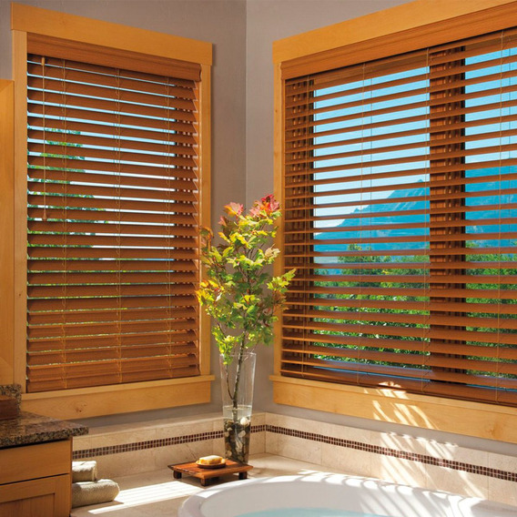 Cortina Veneciana Wood Blind Plus 50 Mm Riel Americano 18 Ct