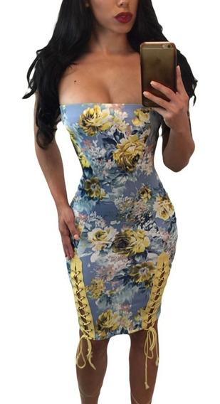Vestido Sexy Strapless Moderno Con Agujetas Antro 220076