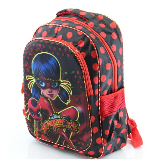 Bolsa Mochila Escolar Média Menina Miraculous Ladybug