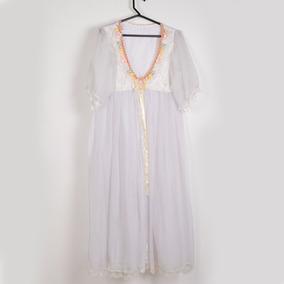 Roupa P/ Estudio Fotog-vestido Branco Com Detalhes Florido