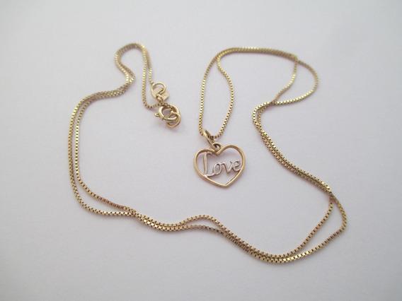 Delicado Colar Com Pingente Love - Ouro 18k - 1.66 Gr