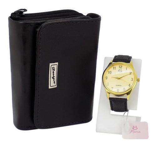 Kit Relógio Dourado Feminino Carteira Couro Brinde Original