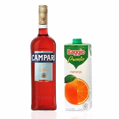 Combo Previa Campari De 750 + 1lts Jugo Baggio De Naranja