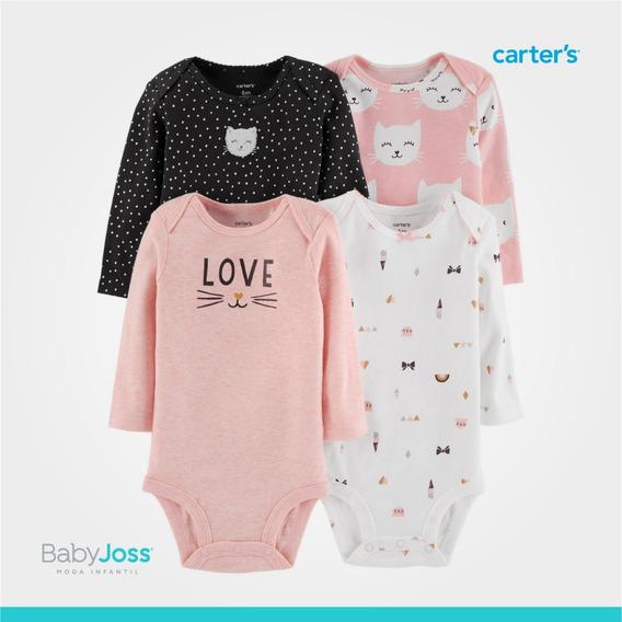 Bodys Para Bebe Niña Set De 4 Bodies Ropa Carters (m02)