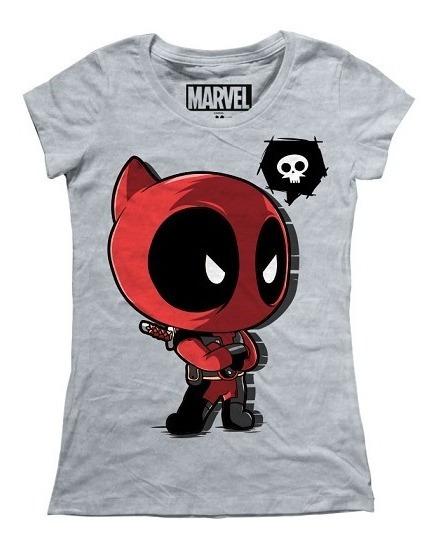 Playera Mujer Deadpool Bebe Marvel Máscara De Látex