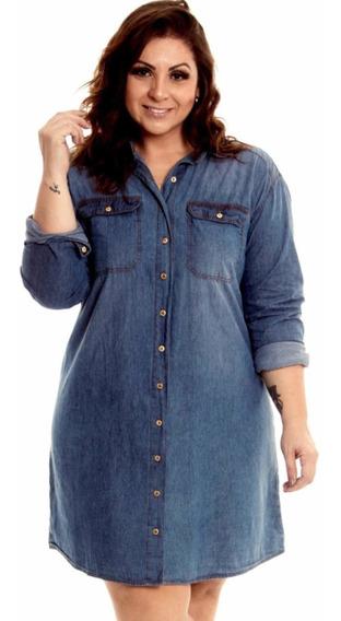 Vestido Jeans Fem. Plus Size Chemise Grandes Tamanhos