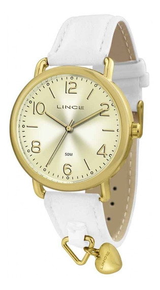 Relógio Lince Feminino Em Couro Branco Lrc4451l C2bk Orig