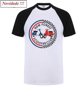 Camiseta Branca Mascu. G Scooter Vespa Algodão M.c. + Barata
