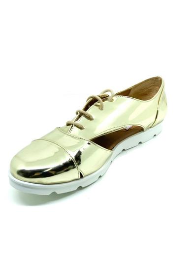 Sapatos Femininos Oxford Verniz Ouro Dani K