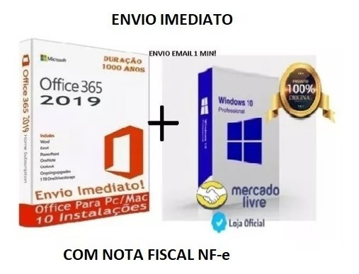 365 Office 2019 Windows 10 Pro Chave Licença Original Nf-e