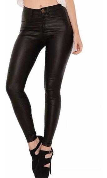 Pantalon Engomado Ecocuero Chupin Bolsillos Calce Perfecto