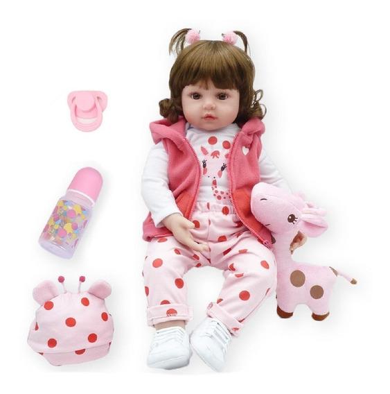 Boneca Bebê Reborn Realista De Silicone Npk 48cm E Girafinha