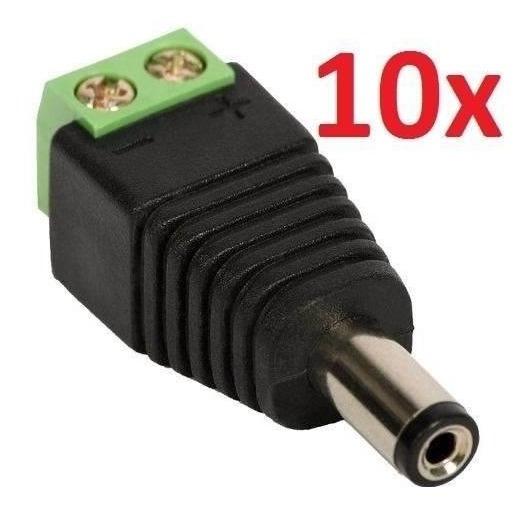Kit 10 Plug P4 Macho Câmeras Adaptador Alimentação Bnc