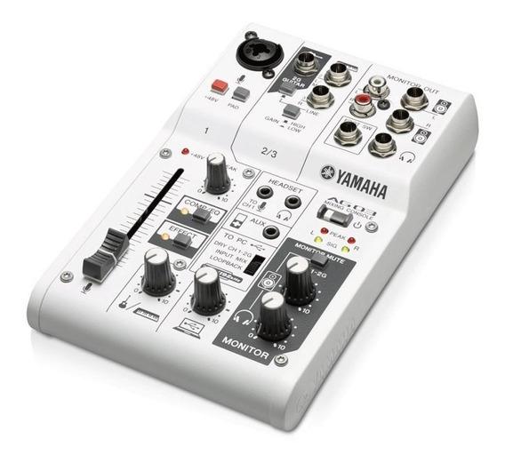 Mesa E Interface De Áudio Yamaha Ag03 Branco Alimentação