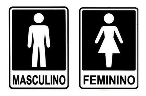 Kit 02 Placa Banheiro Masculino Feminino