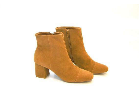 Bota Block Heels Salto Bloco Camurça Camel Cano Baixo R900