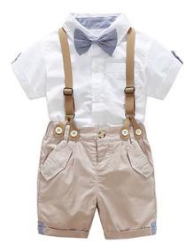 Kit Roupa Bebê 4 Peças Camisa, Bermuda Com Susp. E Gravata