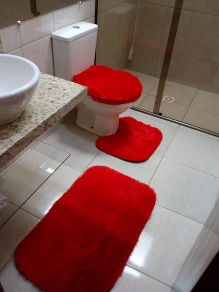 Kit De Banheiro Tapete Conjunto 3 Pçs Peludo Barato Promoção