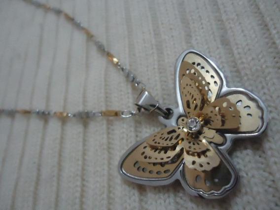 Collar De Mariposa De Acero Inoxidable