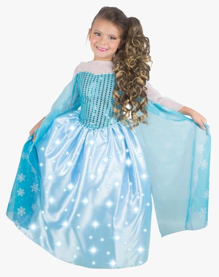 Fantasia Vestido G Longo C/ Led Azul Glitter 1465 Brinkmodel