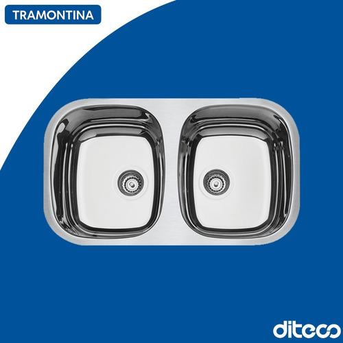 Imagen 1 de 1 de Tramontina 94030/203 Bacha Doble 77x45x15cm Alto Brillo