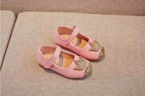 Sapato Infantil Festa Menina Aniversário Princesa Coroa Rosa