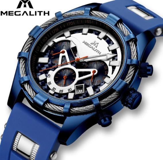 Relógio Megalith Esportivo Silicone Azul E Branco Original .