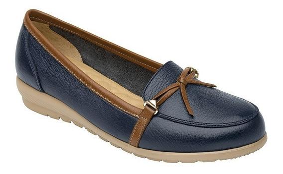Calzado Dama Mujer Zapato Confort Flexi Piel En Azul Comodo