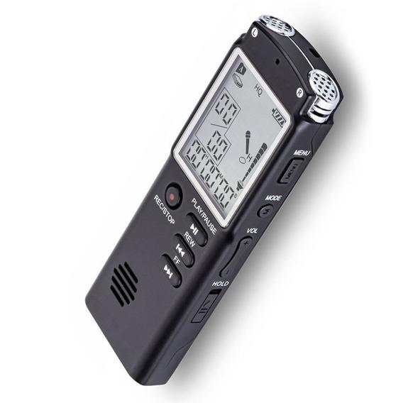 Gravador De Voz Profissional Digital Memória 8 Gb Preto