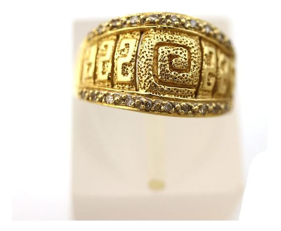 Anel Largo Com Diamantes E Detalhes De Textura Em Ouro 18k Aro 16 6gr Simbolos Egípcios Historico Versatil J20660