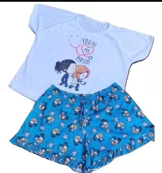 Pijama Personaje Corto Greys Anatomy Verano Mujer Moda 2020