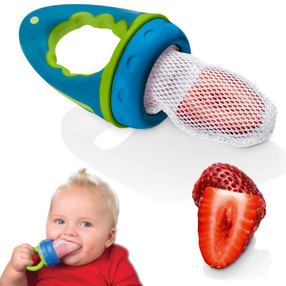 Chupeta Alimentadora Bico Com Rede De Pano Menino Bebê Azul
