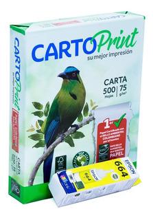 Tinta Epson Botella 70 Ml + Resma Carta Cartoprint