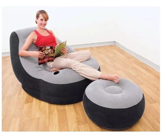 Poltrona-sofá Inflável Com Puff E Porta Copos Intex - Melhor