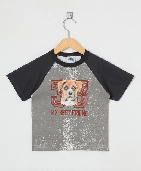 Camiseta Raglan Infantil Bicho Bagunça Cachorrinho