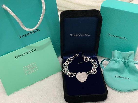Pulseira Tiffany Tiff Coração Prata Bracelete C/ Embalagem