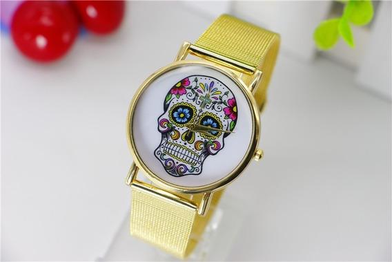 Relógio Quartzo Caveira Luxo Importado Pronta Entrega