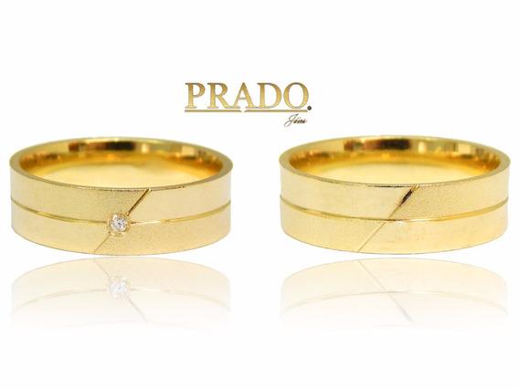 Par De Alianças Em Ouro 18k Fosca E Polida Com Diamante