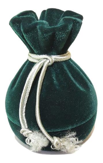 Caixa Para Anel Formato De Saquinho (veludo) - Verde