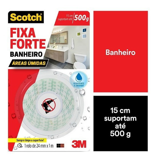 Fita Dupla Face Fixa Forte Banheiro 3m 24mm X 1.0m Scotch
