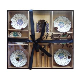 Set Sushi X 4 + Palillos Flores Azul 9,8x3 Cm