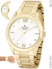 Relógio Champion Feminino Dourado Cn25145w +kit Colar Brinco