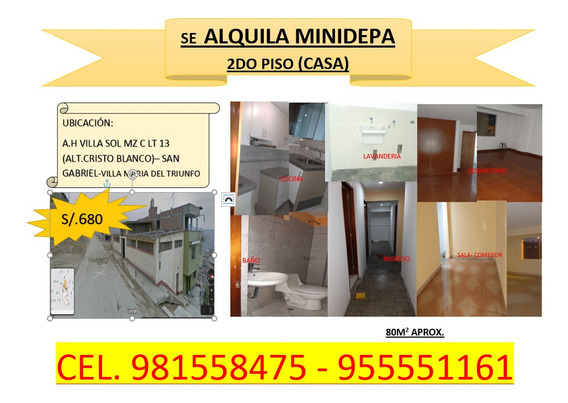 Minidepartamento En Sangabriel- Villa Maria Del Triunfo