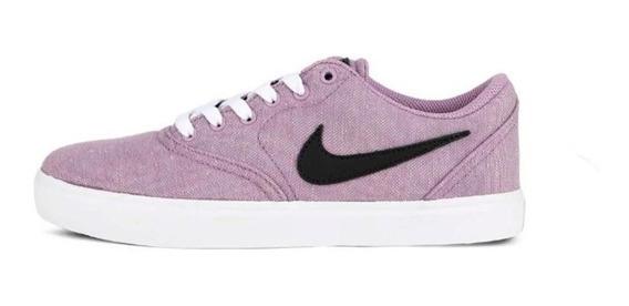 Zapatillas Nike Sb Check Cnvs Premium Mujer Lila Lona