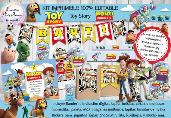 Kit Imprimible Candy Bar Toy Story 1, 2 & 3 - 100% Editable